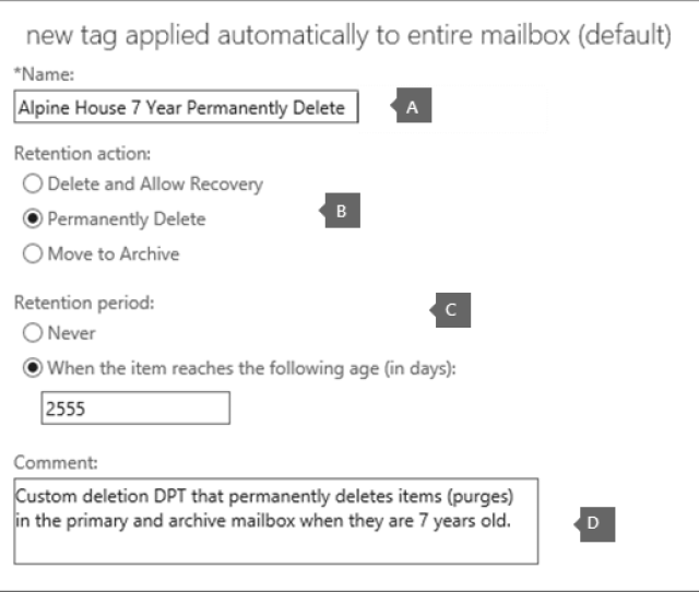 Settings To Create A New Deletion Default Policy Tag