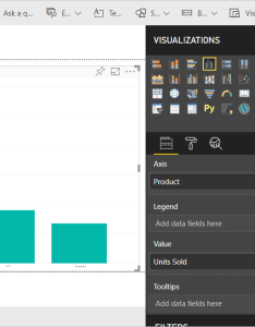 By default power bi creates  chart that sums the units sold measure in value well for each product category axis also aggregates sum average maximum etc visualizations rh docs microsoft