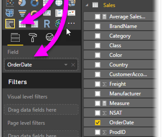 Simply Create A Slicer Visual For Your Report And Then Select A Date Value For The Field Value In The Following Image The Orderdate Field Is Selected