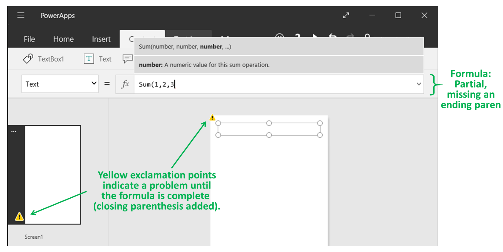 Get Started With Formulas In A Canvas App