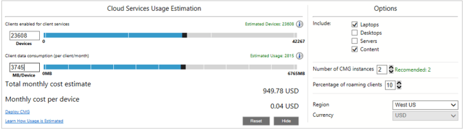 Screenshot of cloud services usage estimation tool