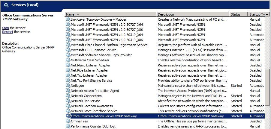 Office Communications Server XMPP Gateway Service