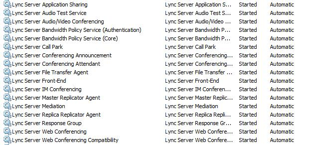 List of services running on Front End Server