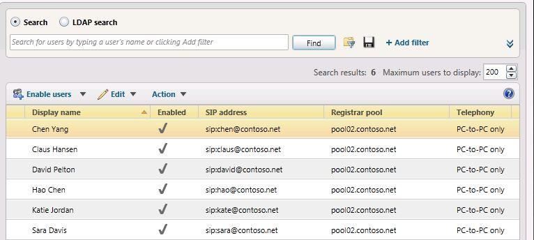Skype for Business Server 2019 Control Panel user list