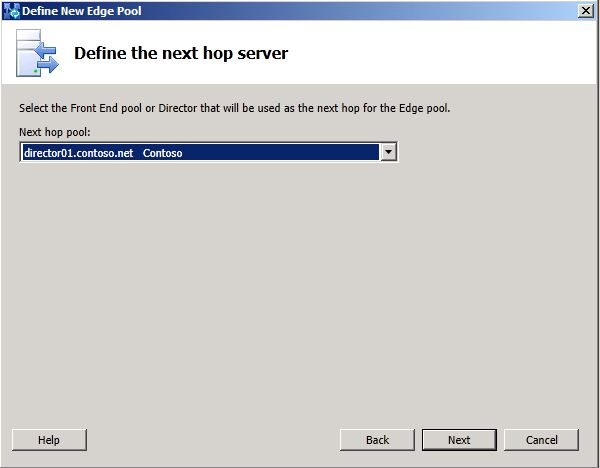Define the Next Hop dialog box