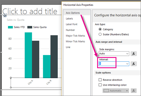 Report builder column chart  axis interval one also specify an and ssrs sql server rh docs microsoft