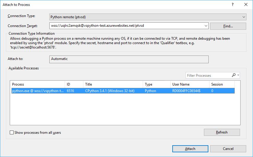 Azure remote debugging with Python - Visual Studio | Microsoft Docs