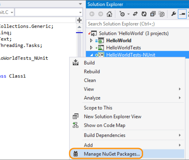 Manage Nuget Packages To Install The Plug In