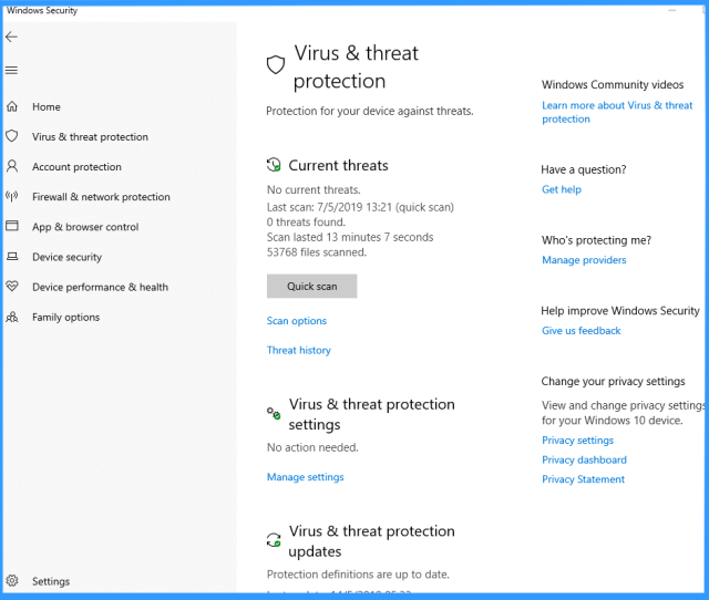 Screenshot Of The Virus Threat Protection Settings Label In The Windows Security App