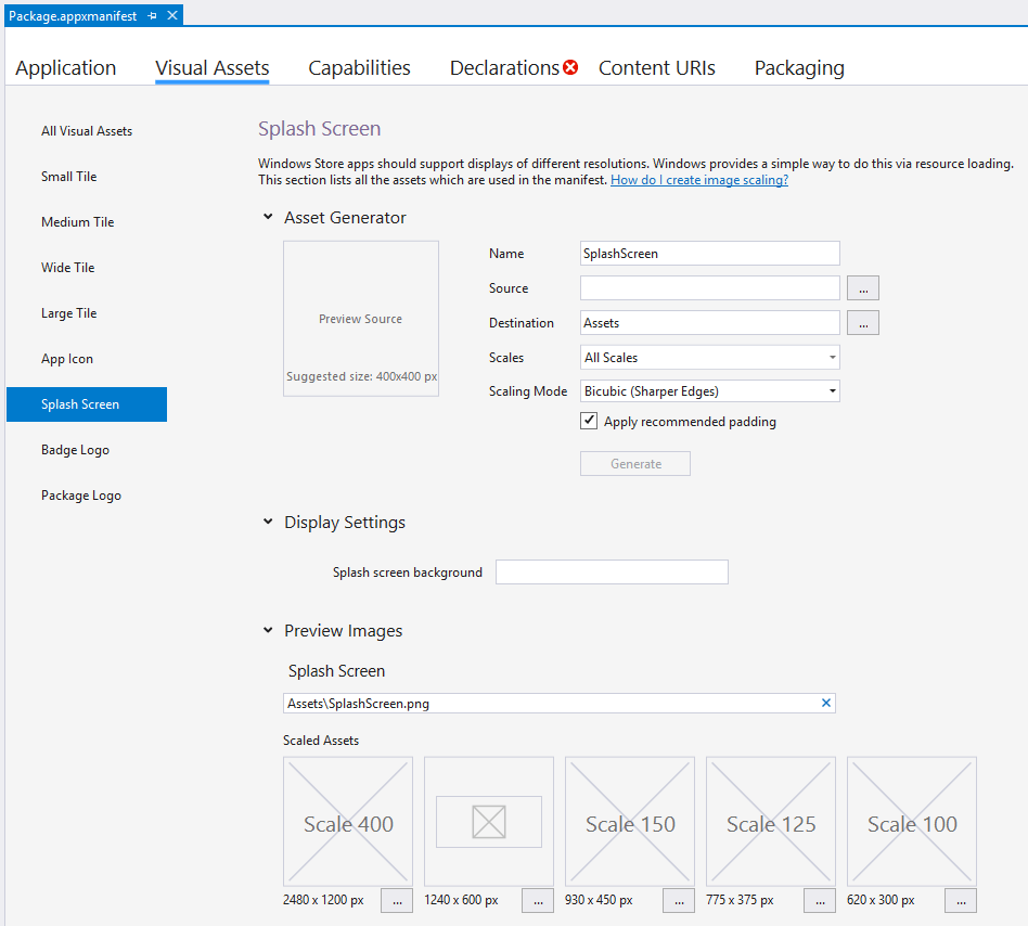 """A Screen Shot Of The """"package.appxmanifest"""" Window In Visual Studio 2017"""