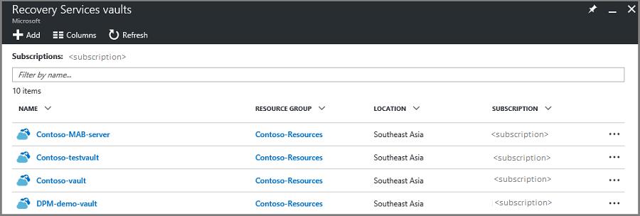 Administración de almacenes y servidores de Azure Recovery