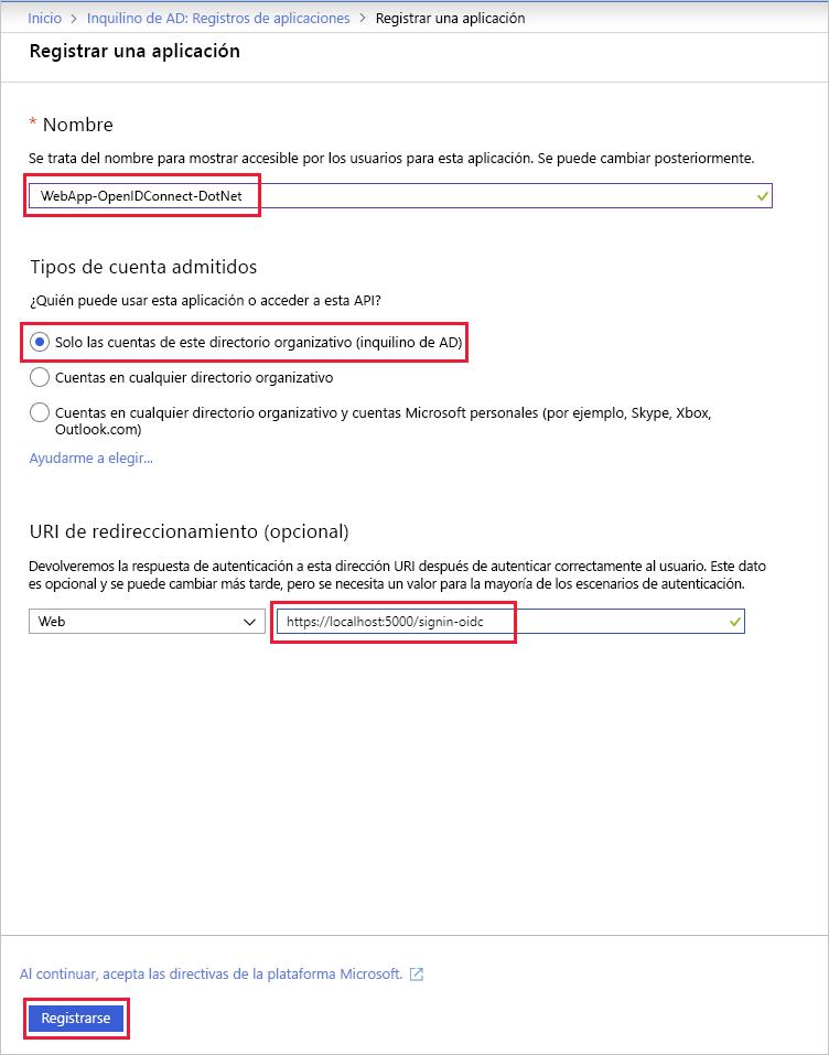 Registro de una aplicación