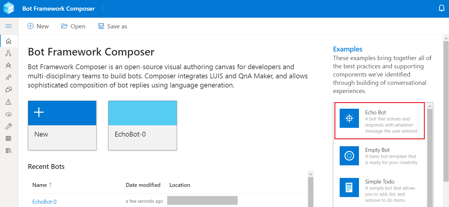Create your first bot - Bot Composer   Microsoft Docs