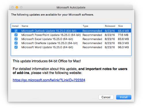 Office 2016 for Mac 64 ビットアップグレード | Microsoft Docs