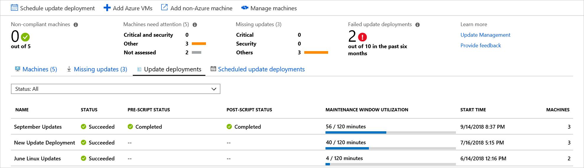 管理多部 Azure 虛擬機器的更新 | Microsoft Docs
