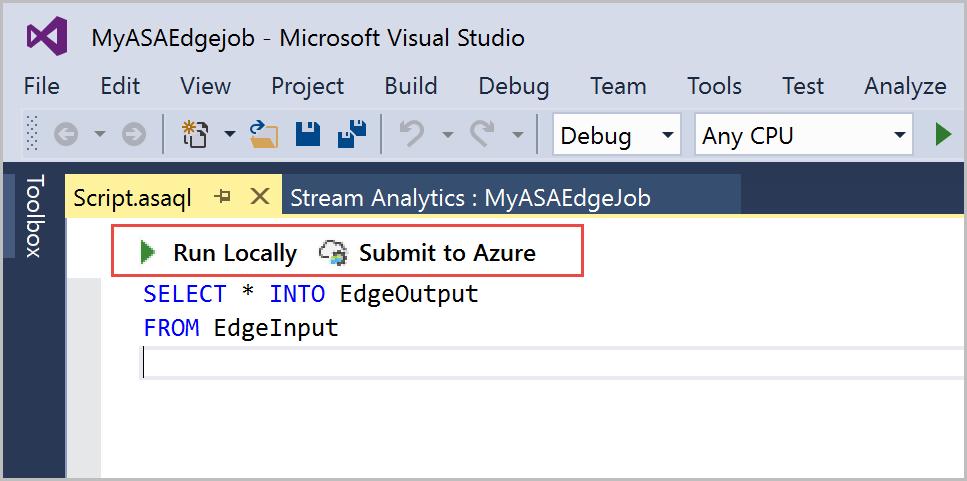 Visual Studio 中的 Azure 串流分析 Edge 作業 | Microsoft Docs