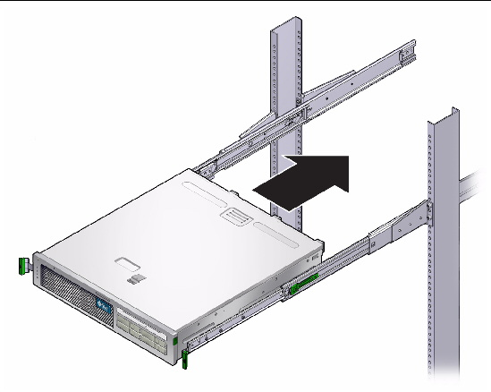 mounting the server into a 2 post rack