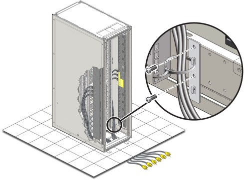 small resolution of image figure shows routing of power cords from the bottom of the rack