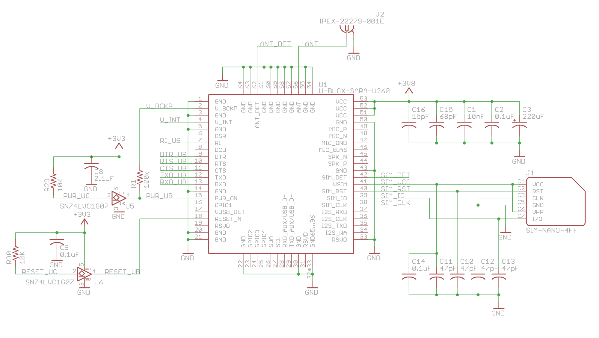 hight resolution of the u blox cellular module talks to the microcontroller over a full duplex usart interface using a standard set of at commands the sim nano 4ff card is