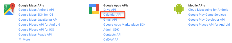 google developers console select calendar api