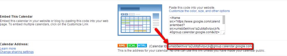 Google - Find your calendar ID