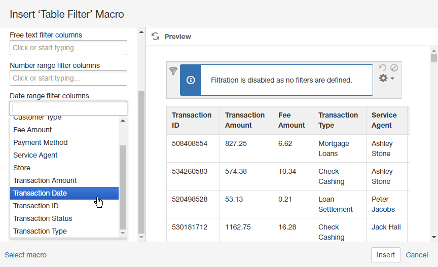 Save the page also managing date range filters table filter and charts for confluence rh docsiltsoft