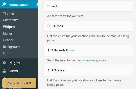 Experience 4.5 Widget List