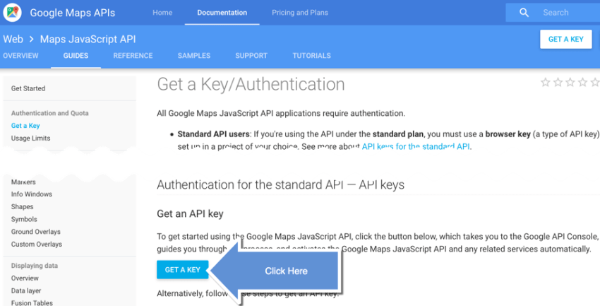 Google API Key Step 1
