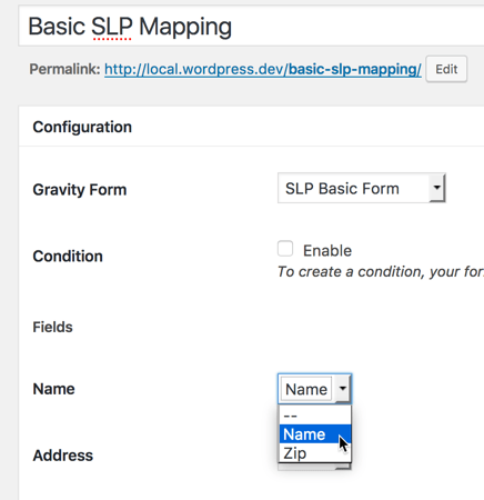 Mapping GF Fields to SLP Data Fields