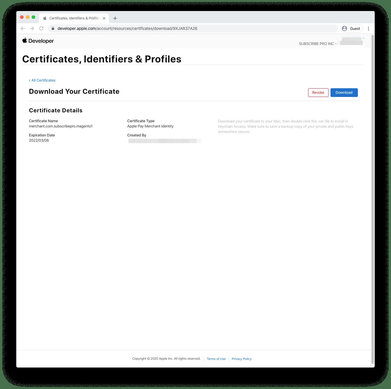 Create Merchant Identity Certificate in Apple Developer