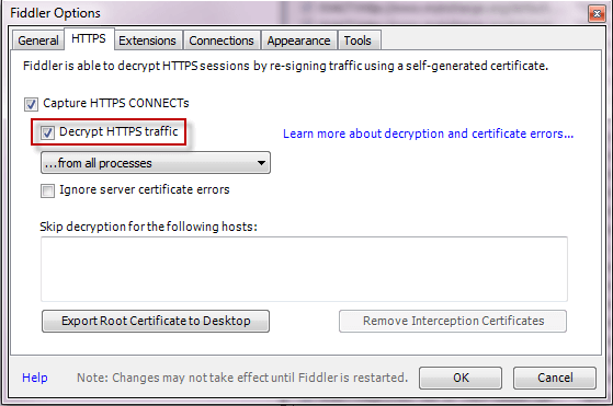 Fiddler Options -- Decrypt HTTPS Traffic