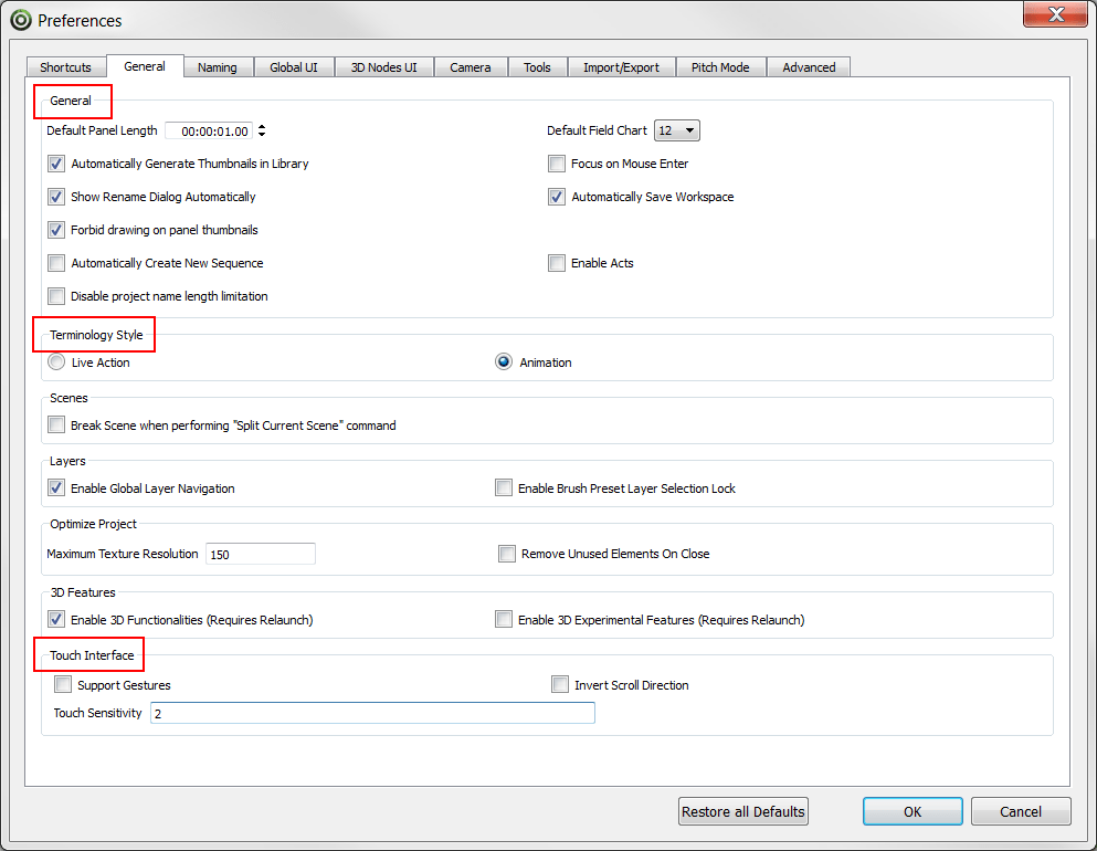Storyboard Pro 4.2 Online Help: Preferences