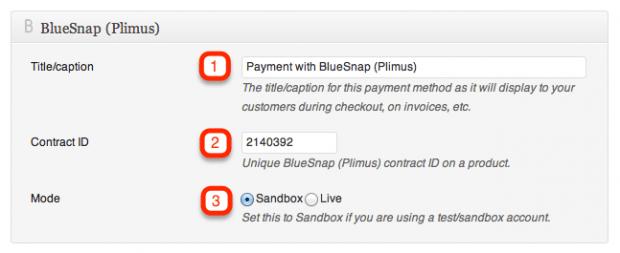 BlueSnap Plimus Settings