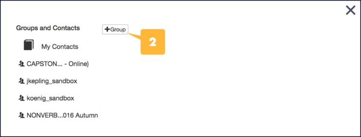 Screenshot showing the location of the the Group+ button in the Groups and Contacts window