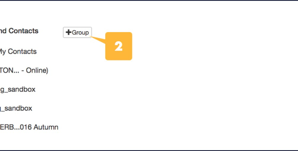 Screenshot showing the location of the the Groups+ button in the Groups and Contacts window