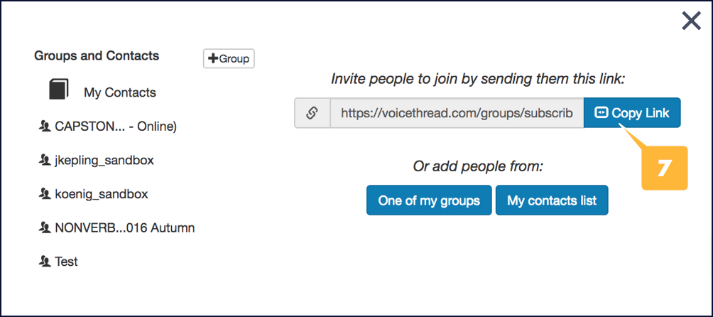 Screenshot showing the location of the link for your VoiceThread group