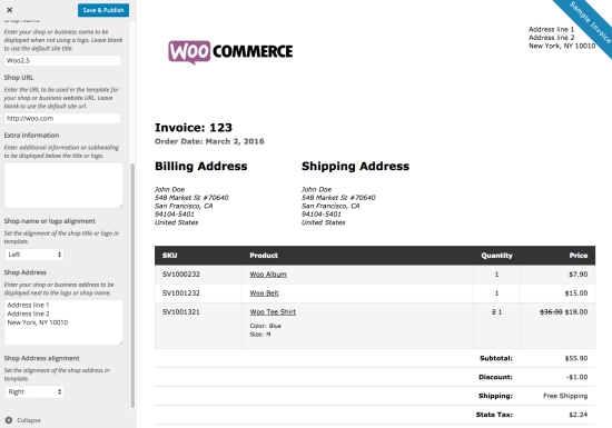 WooCommerce Print Invoices / Packing Lists customizer