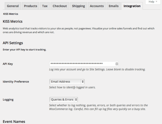 WooCommerce KISSmetrics integration admin settings