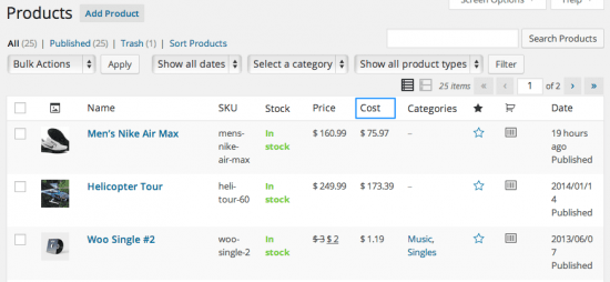 WooCommerce Cost of Goods Product Table Display