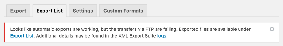 WooCommerce Customer / Order XML Export transfers failing