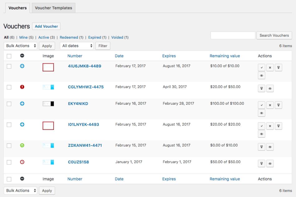 WooCommerce PDF Product Vouchers Generated Voucher List