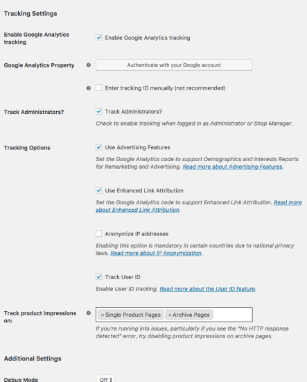 WooCommerce Google Analytics: General Settings