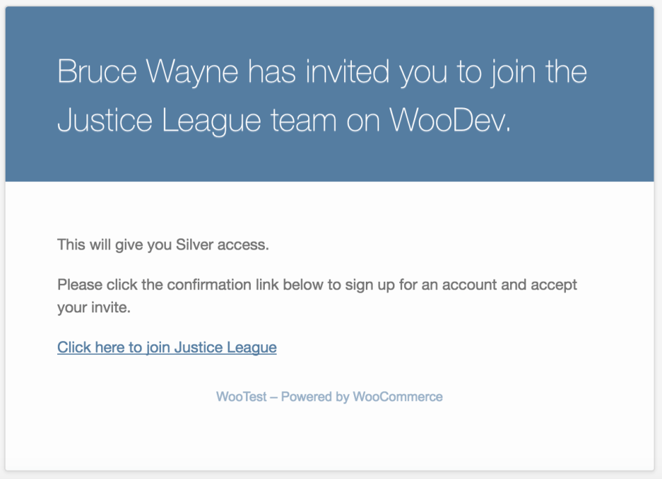 Teams for WooCommerce Memberships: new user invite