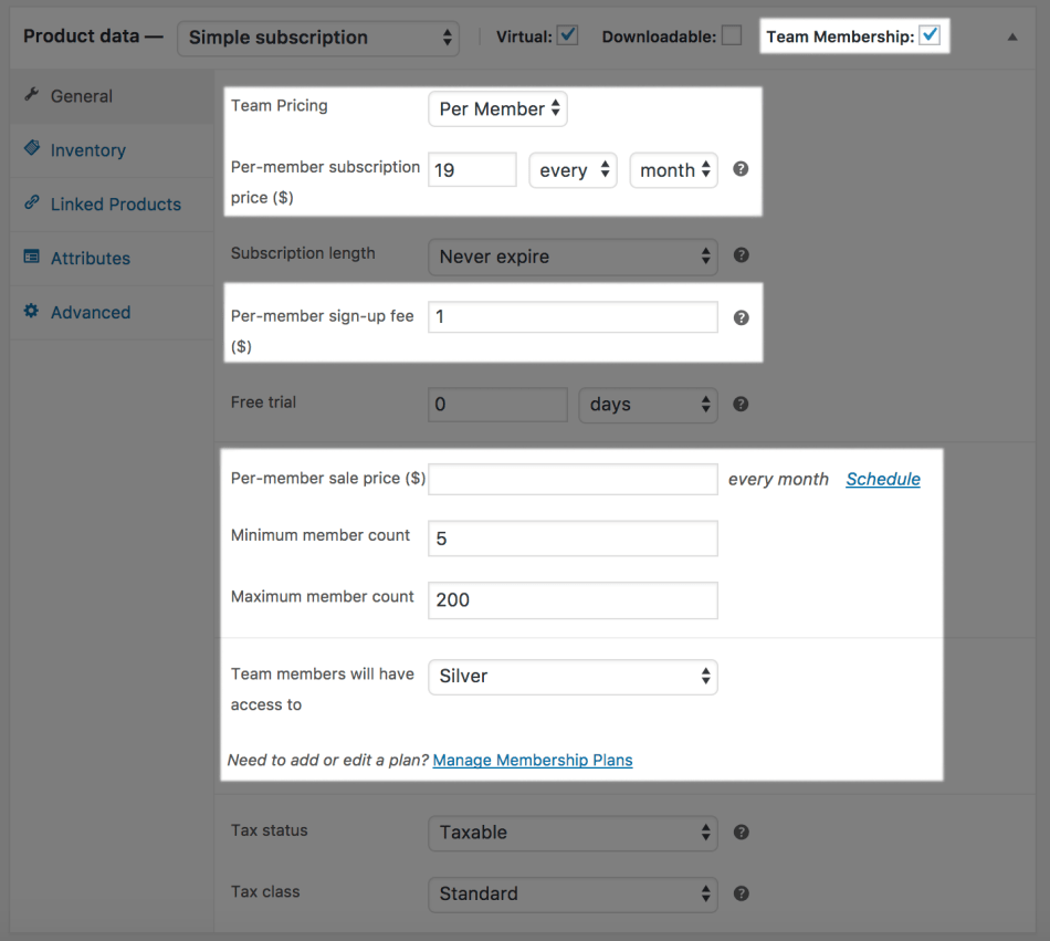 Teams for WooCommerce Memberships: subscription-type product