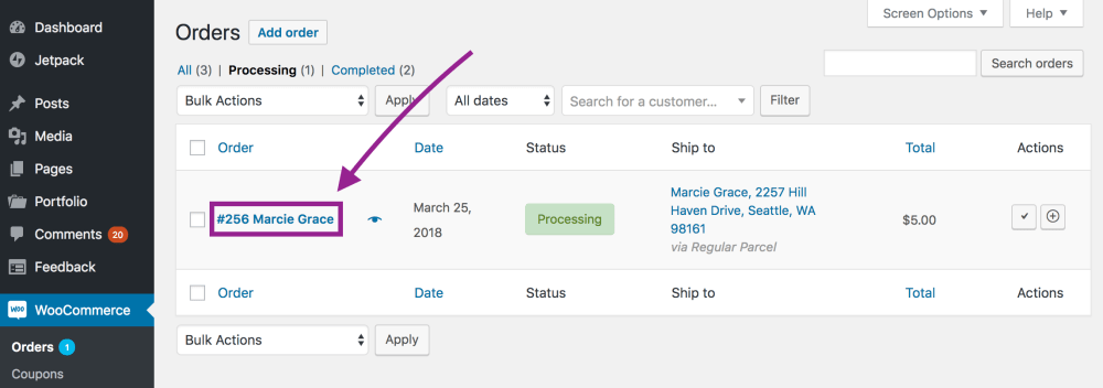 medium resolution of click on the order name