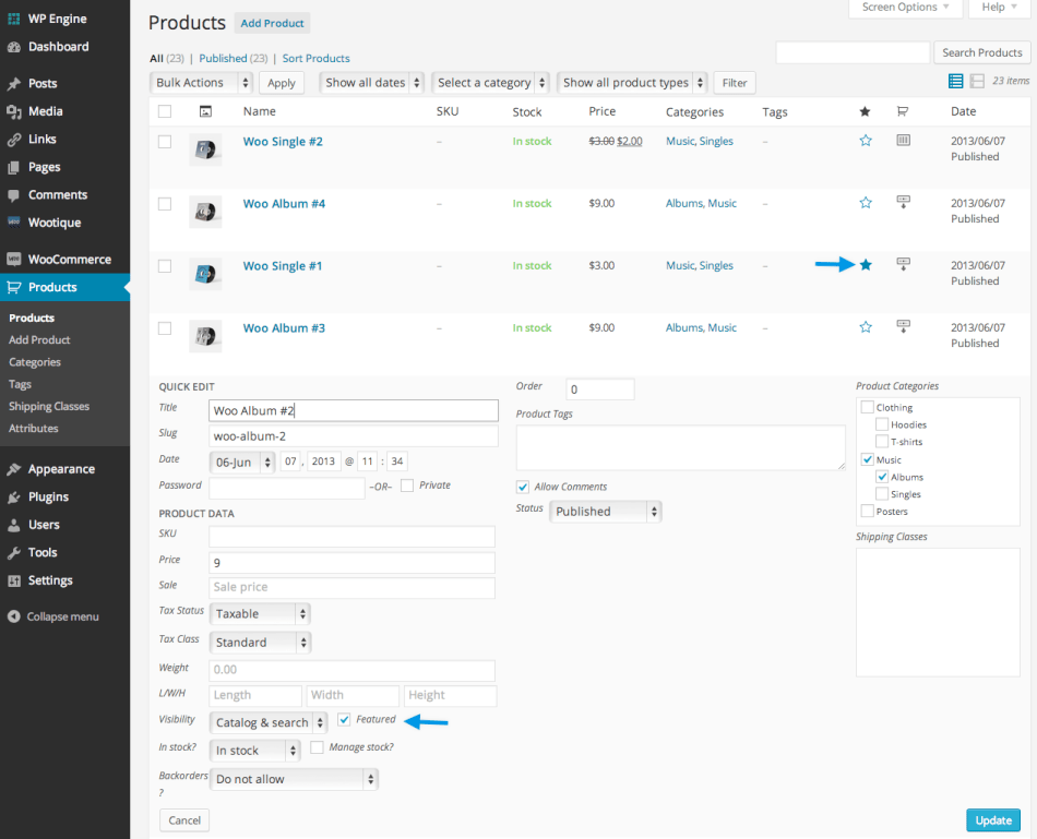 Setting A Featured Product