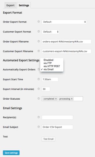 WooCommerce Order / Customer CSV Export Settings