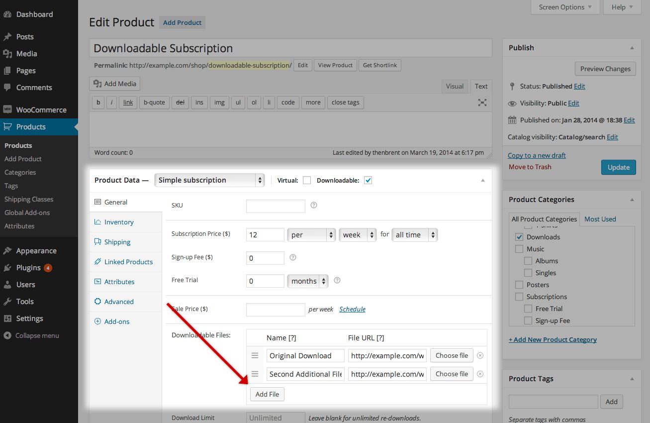 Screenshot of Edit Product screen