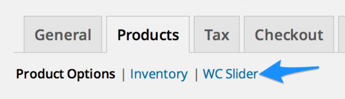 An example of a new section under the Products tab
