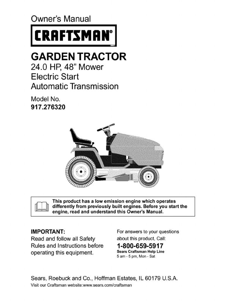 hight resolution of craftsman garden tractor 24 0 hp 48 mower